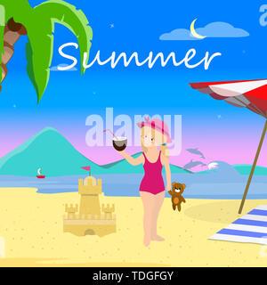 Petite fille sur la plage la nuit, Vacances, Voyage d'été. Arrière-plan de la mer avec Palm et les dauphins. Mignon Bébé en maillot de bain à la noix de coco, la partie Banque D'Images