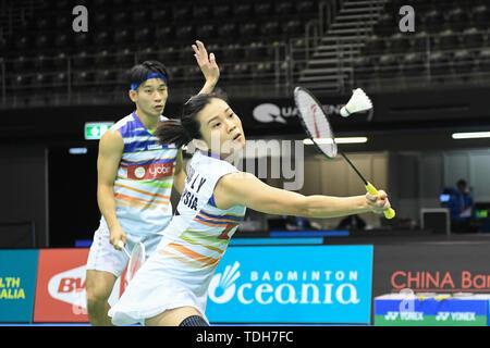 Sydney, NSW, Australie. 7 juin, 2019. Chan Peng bientôt et Goh Liu Ying (Malaisie) vu en action lors de l'Australian Open 2019 Badminton Double mixte 1/4 de finale match contre Praveen Jordan et Melati Freux Oktavianti (Indonésie). Chan et Goh perd le match 18-21, 20-22. Crédit: Luis/Veniegra SOPA Images/ZUMA/Alamy Fil Live News