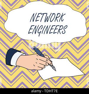 Main conceptuel écrit, indiquant les ingénieurs réseau. Signification du concept du métier de professionnel de la technologie de l'ordinateur de main d'hommes Costume formel Holding Ba Banque D'Images