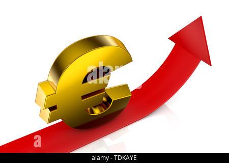 Illustration 3d service de signer et flèche rouge Banque D'Images