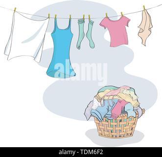 Blanchisserie dans panier et pendaison le lave-ligne - regroupés et stratifiés simples à modifier Banque D'Images