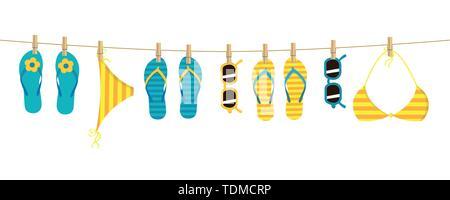 Tongs colorées et lunettes bandeau accroché sur une corde sur fond blanc des vacances d'EPS10 vector illustration design Banque D'Images