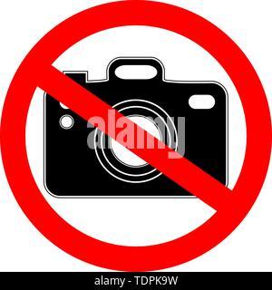 Aucune photographie, photo interdite symbole. Panneau indiquant l'interdiction ou la règle. Avertissement et interdit. Banque D'Images
