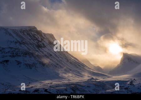 La poudrerie dans la vallée Stuor, Reaiddavaggi Kebnekaisefjaell la Suède, Laponie, Norrbotten, Banque D'Images