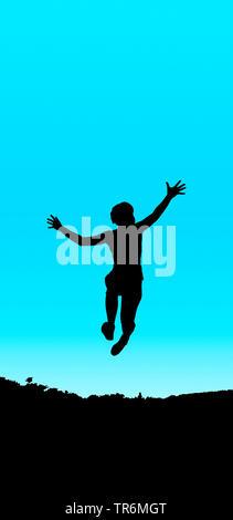 Jeune fille sautant bleu noir, Allemagne Banque D'Images