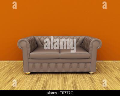 3D computer graphic, design d'intérieur avec canapé en cuir classique de couleur brune contre un mur brun Banque D'Images