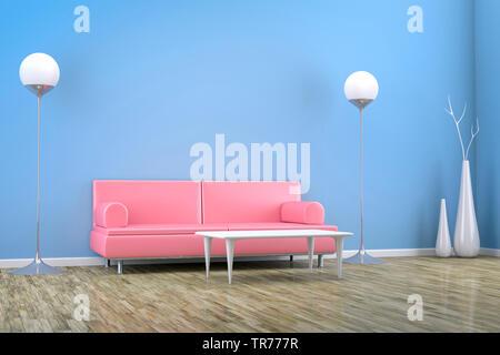 3D computer graphic, design d'intérieur d'un canapé en cuir en rose contre un mur bleu Banque D'Images