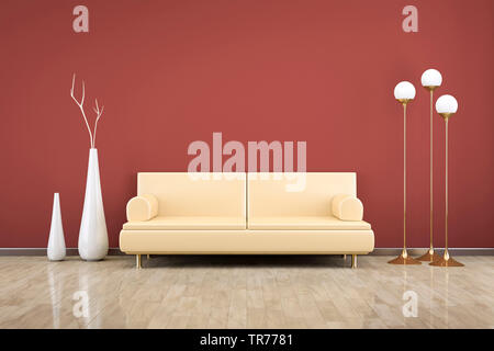 3D computer graphic, design d'intérieur d'un canapé en cuir de couleur beige contre un mur rouge Banque D'Images
