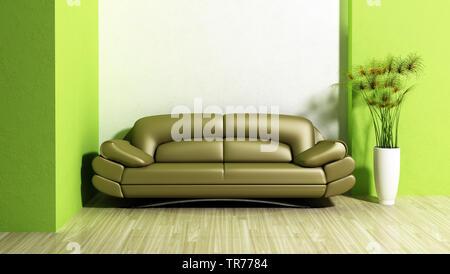 3D computer graphic, design d'intérieur d'un canapé en cuir de couleur verte contre un mur blanc/vert Banque D'Images