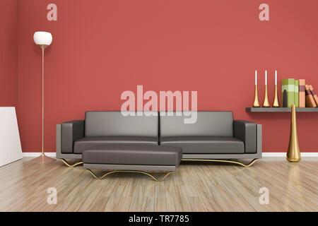 3D computer graphic, design d'intérieur d'un canapé en cuir de couleur brune contre un mur rouge Banque D'Images