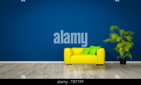 3D computer graphic, design d'intérieur avec un canapé de couleur jaune contre un mur de couleur bleu Banque D'Images