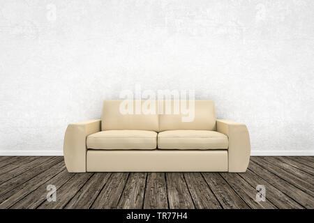 3D computer graphic, design d'intérieur avec un canapé de couleur beige contre un mur de couleur blanche Banque D'Images