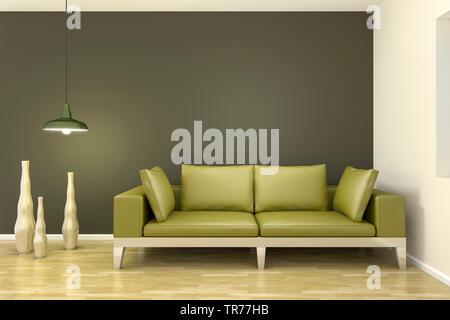 Infographie 3D, de design d'intérieur moderne avec un canapé en cuir de couleur verte contre un mur vert foncé Banque D'Images