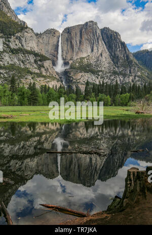 Yosemite Falls tonitruantes avec réflexion parfaite, Yosemite National Park, Californie