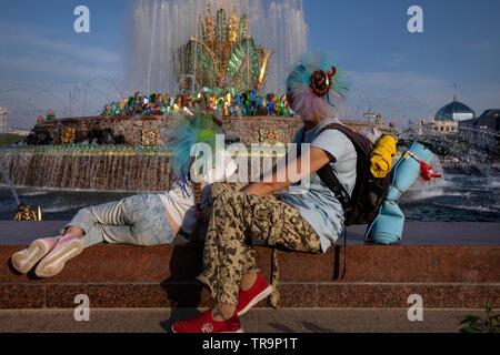 La Fontaine aux Fleurs de Pierre après la restauration sur l'avenue principale de l'exposition VDNH à Moscou, Russie