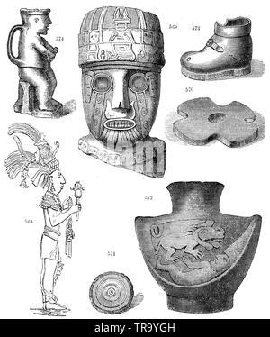 Antiquités en provenance d'Amérique centrale et du Pérou. Après J. J. von Tschudi. 568) Bas-relief d'une figure masculine dans le palais de Palenqué. 569) Tête Colossale par Llocolloco, 570) bague en pierre d'une hache de pierre, 571) oeil artificiel d'une momie péruvienne, 572) pot en argile, 573) pot en argile en forme de chaussure, 574) pot en argile en forme d'une figure humaine, , (1874), livre d'anthropologie Banque D'Images