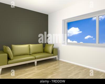 3D computer graphic, design d'intérieur avec un canapé de couleur verte et d'un windows avec vue sur ciel nuageux Banque D'Images