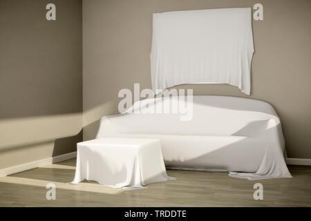 3D computer graphic, design d'intérieur avec un canapé, une table couverte et photo Banque D'Images