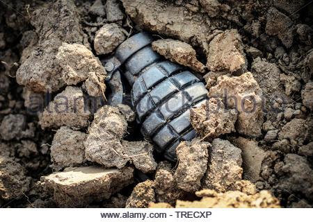 Grenade dans le sol Banque D'Images