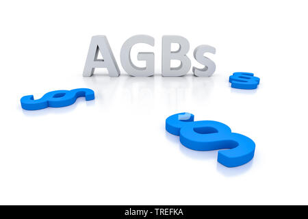 3D computer graphic, lettrage AGBs (Termes et conditions) et (loi) les alinéas, l'Europe, l'Allemagne, la Bavière