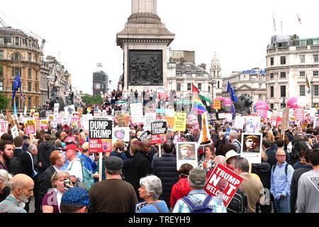 Londres, Royaume-Uni. 4 juin, 2019. Environ 40 000 personnes à l'ant-démo trump à Trafalgar Square, au lieu de les 250 000. Crédit: Brian Minkoff/Alamy Live News