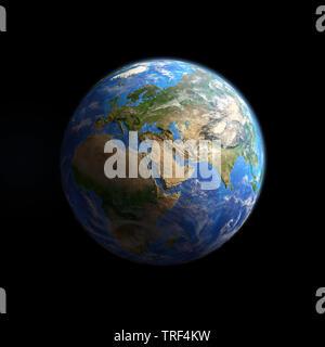 La planète Terre vue d'un satellite, l'accent sur l'Europe, l'Asie et l'Afrique, isolés sur noir. Illustration 3D - Éléments de cette image fournie par NAS Banque D'Images