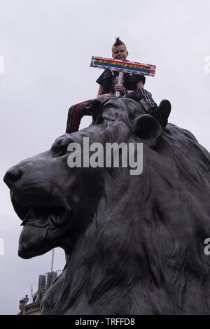 Les manifestants se rassembleront à Trafalgar Square pour protester contre l'atout de Donald. Westminster, London, UK. - 4 juin 2019.