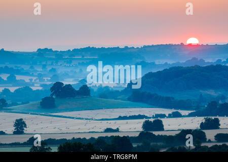 Lever du soleil sur un matin d'été sur la campagne près de Compton Pauncefoot, Somerset, Angleterre Banque D'Images