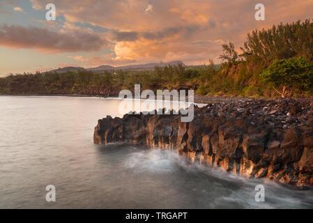 Pointe de Langevin, point le plus au sud de l'Union européenne, Réunion, France Banque D'Images