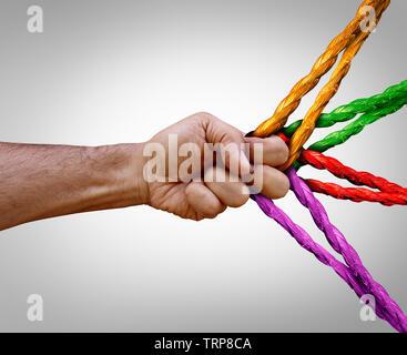 Concept de gestion groupe connecté autant de différentes cordes attachées et liées ensemble comme une chaîne incassable en confiance et foi métaphore. Banque D'Images