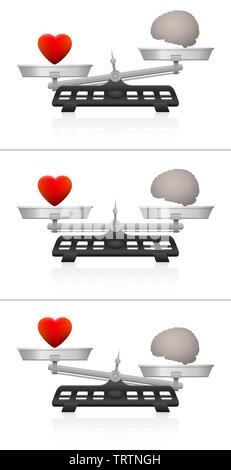 L'esprit et l'âme avec l'échelle d'équilibre du coeur et du cerveau. Symbolique pour l'équivalence de l'émotion et l'intelligence, de sentiment et de pensée. L'égalité et l'inégalité de poids. Banque D'Images
