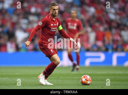 MADRID, ESPAGNE - juin 1, 2019: Jordan Henderson de Liverpool en photo lors de la finale de l'UEFA Champions League 2018/19 entre Tottenham Hotspur (Angleterre) et Liverpool FC (Angleterre) à Wanda Metropolitano. Banque D'Images