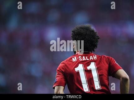 MADRID, ESPAGNE - juin 1, 2019: Mohamed Salah de Liverpool en photo lors de la finale de l'UEFA Champions League 2018/19 entre Tottenham Hotspur (Angleterre) et Liverpool FC (Angleterre) à Wanda Metropolitano. Banque D'Images