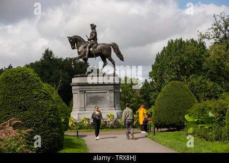 George Washington à cheval statue Jardin Public de Boston MA