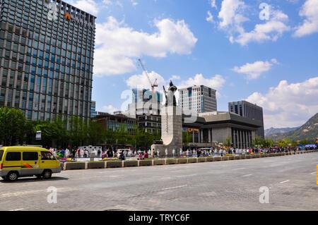 Séoul, Corée, 1er mai, 2013. Vue de la place Gwanghwamun, également connu sous le nom de la place Gwanghwamun. L'objectif d'ouvrir et de reconstruction de cette plaza est mak Banque D'Images