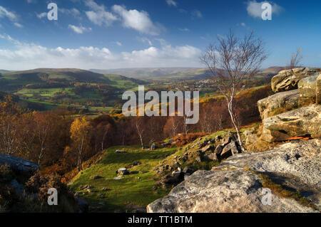UK,Derbyshire, Peak District,vue sur la vallée de la colline de Bole Espoir Banque D'Images