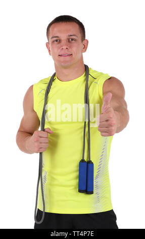 Beau jeune sportsman holding rope isolated on white Banque D'Images