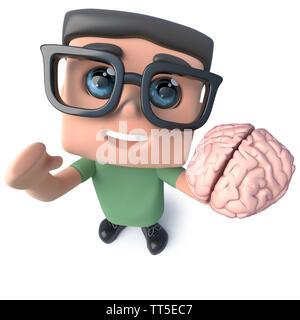 3D render of a funny cartoon geek nerd hacker personnage tenant un cerveau humain Banque D'Images