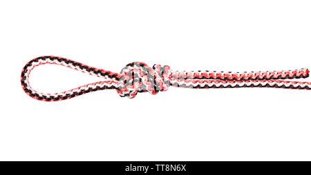 Boucle du chirurgien nœud sur la corde synthétique découper sur fond blanc Banque D'Images