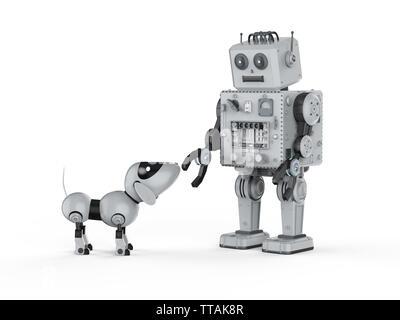 Le rendu 3d'étain robot jouet avec chien robot sur fond blanc Banque D'Images