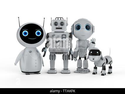 Groupe de rendu 3D de l'amicale des robots sur fond blanc Banque D'Images