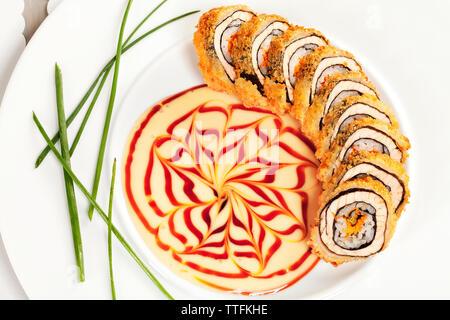 L'oeil de tigre plaque sushi Banque D'Images
