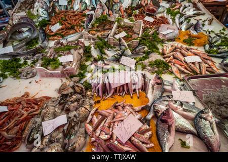 Des fruits de mer au marché de poissons de la Pescheria à Catane, Sicile, Italie Banque D'Images