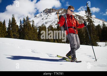 Homme avec des bâtons de ski randonnée pédestre sur neige contre des arbres Banque D'Images