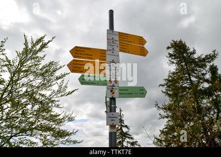 Panneau routier dans l'Alpes Souabe, Allemagne. Banque D'Images