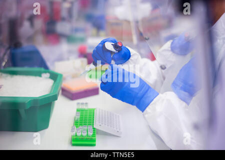 High angle view of scientist working in laboratory vu à travers la vitre