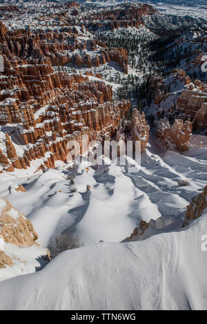 High angle view of rock formations at Bryce Canyon National Park en hiver