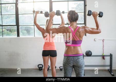 Vue arrière des athlètes féminines levée haltères en club de santé Banque D'Images
