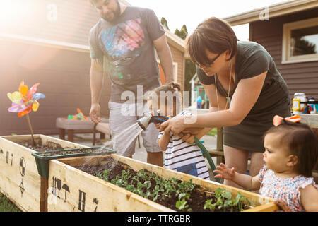 Les parents d'enfants de l'arrosage des plantes au jardin Banque D'Images