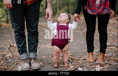 La section basse de parents holding daughter's hands en se tenant sur le terrain à forest Banque D'Images